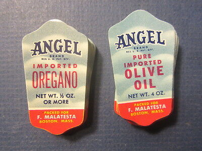 Wholesale Lot of 200 Old 1950's ANGEL Brand Jar LABELS - Olive Oil / Oregano