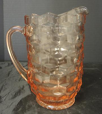 Pink Jeanette Glass Water Pitcher - Cubist Pattern