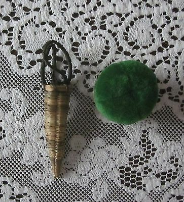 Vintage Antique Sweet Grass Scissor Holder & Pin Cushion Green Velvet Top Sewing
