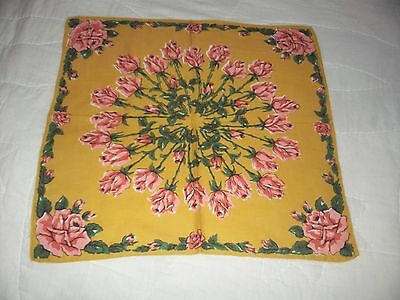 Pretty Gold/tan Handkerchief / Hanky With Pink Rosees