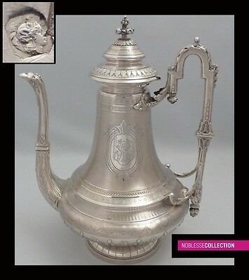 AMAZING ANTIQUE 1880s FRENCH STERLING SILVER COFFEE POT Napoleon III style 25 oz