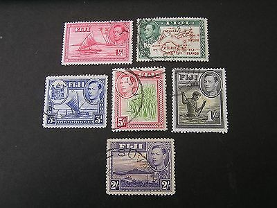 Fiji, Scott # 119/120(2)+122+124+127+129.1938-55 Kgvi Pictorial Issue Used