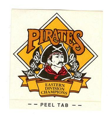 Baseball Window Decal Sticker Pittsburgh Pirates 1990-92 Eastern Division Champs