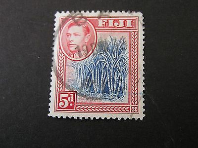 *FIJI, SCOTT # 123, 5p. VALUE ROSE RED & BLUE 1938-55 KGVI PICTORIAL ISSUE USED