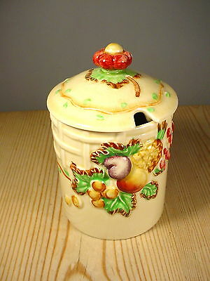 Clarice Cliff Fruit & Basket Preserve Pot & Lid 936