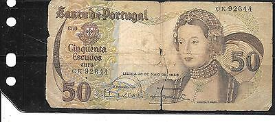 PORTUGAL #174a 1968 AG CIRC OLD 50 ESCUDOS BANKNOTE PAPER MONEY CURRENCY NOTE