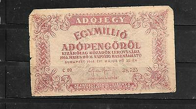 HUNGARY #140c 1946 MILLION ADOPENGO VG CIRC OLD BANKNOTE PAPER MONEY CURRENCY