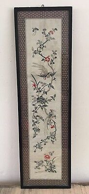 Beautiful Vintage Framed Silk Embroidered Wall Panel Birds
