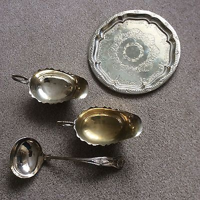 Assorted Silver Items, Round Salver, Ladle, Pair Georgian Gravy Boats