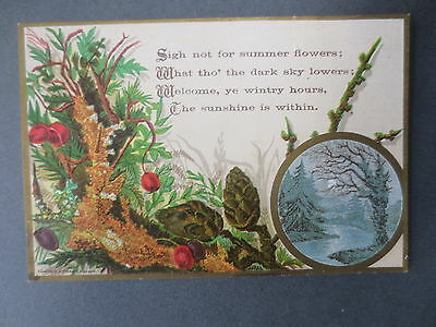 Antique Greetings Card Campbell & Tudhope Summer Flowers Wintry Hours Victorian