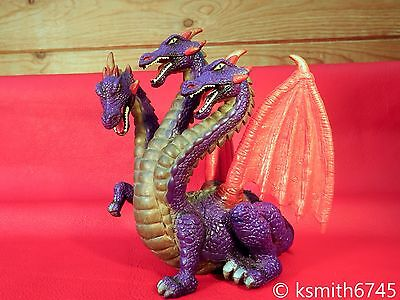 ELC 3 HEAD DRAGON plastic toy figure Castle Tower Dungeon of Doom myth monster