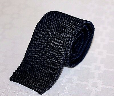 BROOKS BROTHERS Navy Blue Made in Italy Men's 100% Silk Knit Tie