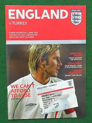 Football Programme plus Ticket>ENGLAND v TURKEY Apr 2003 ECQR @Sunderland