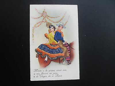 Spanish Silk Hand embroidered postcard pretty lady & admirer on horseback