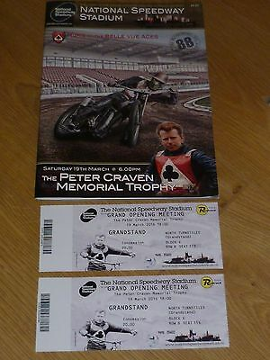 Peter Craven  Memorial Trophy 2016 Programme And Two Reprinted Tickets