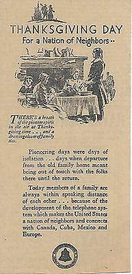 Rare 1930 Bell Telephone System Thanksgiving Day Newspaper Ad; Great Shape!