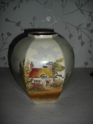 Royal Doulton Six Sided Country Scene Vase D3647  (1913)