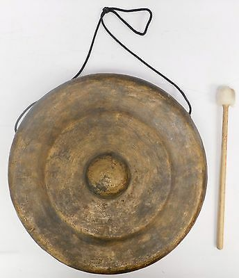Large Tibetan Style Hand Beaten METAL GONG With Felt Beater - S37