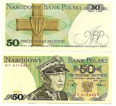 POLAND   - 2  great  UNC 50 zloty notes