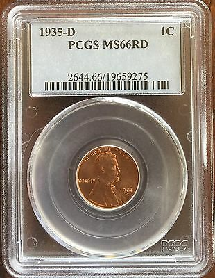 1935 D Lincoln Wheat Penny Small Cents 1c PCGS MS-66 RD