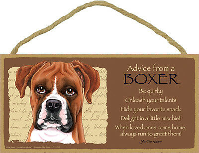 ADVICE FROM A BOXER wood SIGN wall hanging NOVELTY PLAQUE uncropped puppy dog