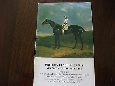 Newmarket Race Card - 10Th July, 1984 - The Princess Of Wales & Cherry Hinton