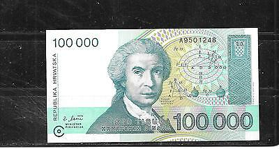 CROATIA #27a 1993 UNC MINT 100000 DINARA OLD BANKNOTE BILL NOTE PAPER MONEY