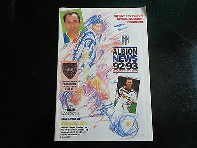 WEST BROMWICH ALBION v SWANSEA CITY DIV 2 Play off semi final 1992/3 POST FREE