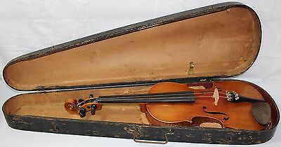 "Vintage Paganini Violin 23 3/4"" Length with Wooden Case No Bow Free Ship to US48"