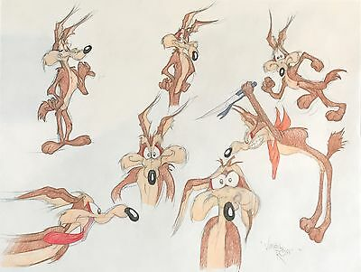 Warner Bros Signed Virgil Ross Animation Model Pencil Drawing of Wile E. Coyote