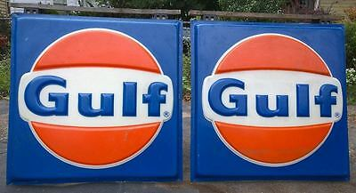"""GULF-Vintage 1970's-80's (48""""x 48"""") 2 x PLASTIC 'EMBOSSED' SIGNS-NICE CONDITION!"""
