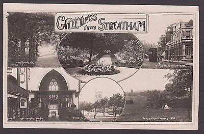 Postcard Streatham London multiview posted 1923 old RP by Johns