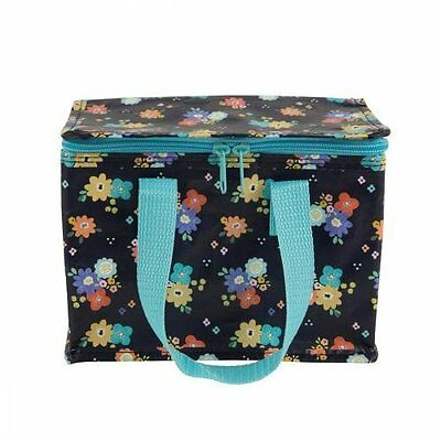 Dahlia Floral design Zip up Insulated Lunch Bag.Kids/Children Recycled Tote Cool