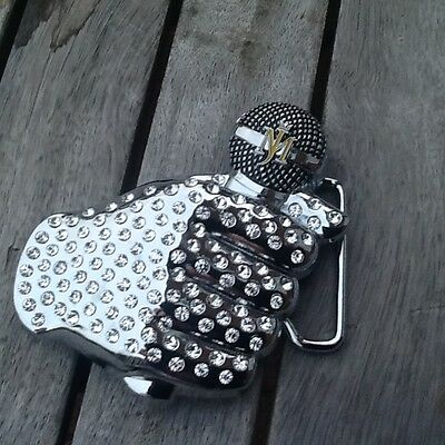 MICHAEL JACKSON CHROME GLOVE AND STUDS QUALITY METAL BUCKLE TAKES 42mm belt
