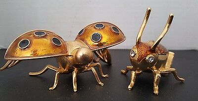 Vintage Perfume Bottles Beetle & Dragonfly Metal & Glass.