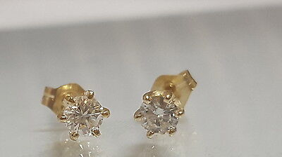 LOVELY 14K YELLOW GOLD 0.40 CARAT DIAMOND STUD EARRINGS 6 PRONG 3.5mm