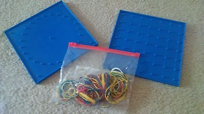 TWO Learning Resources 2-Sided Geoboards LOTS of Rubber Bands Math Manipulatives