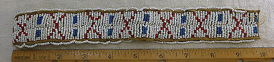 Vtg Antique Native American Sioux Indian Brain Tan Sinew Beadwork Red Blue White