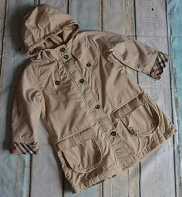 Burberry Girls Designer Fleece Lined Trench Style Hooded Coat 6 Years Vgc