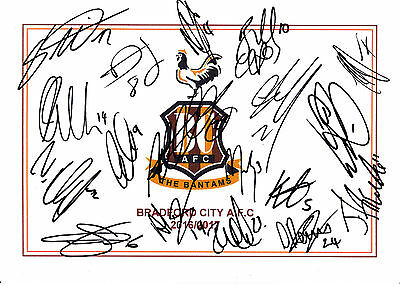 Bradford City Afc, 2016/17 Superb Signed A4 Card Sheet By (18X) In Total,