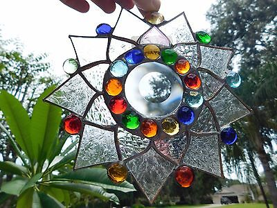 Leaded Stained Glass Sun Catcher  Flower Hanging FROSTED CLEAR  #27