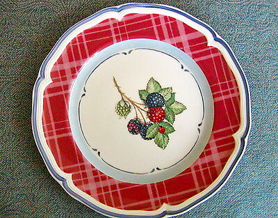 """Villeroy & Boch Country Cottage Red Plaid Black Berry 8"""" Salad Plate(s) Mint"""
