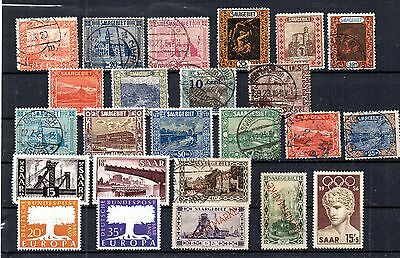 Saar Very Nice Selection Of 24 Stamps. Most Postally Used. Some Mnh, H, And Ng.