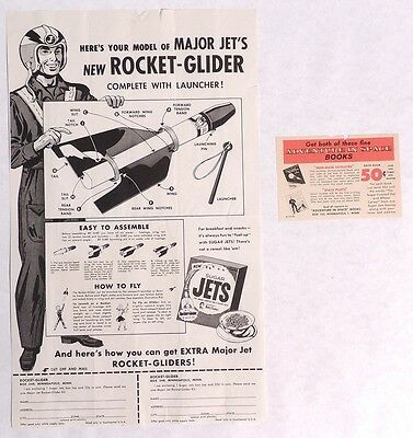 P158. Vintage: MAJOR JET ROCKET-GLIDER & Station Order Form Ad Sugar Jets 1950s[