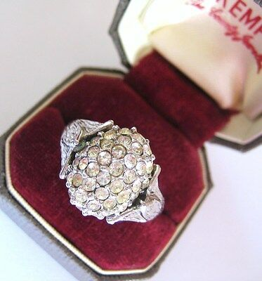 Vintage Signed A&s Clear Crystal Cluster Attwood & Sawyer Cocktail Ring