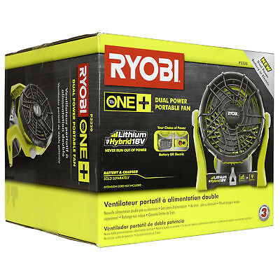 Ryobi P3320 120V AC or 18V ONE+ Dual Power Portable Hybrid Electric Fan New