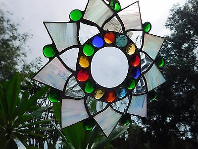 Leaded Stained Glass Sun Catcher  Flower Hanging pearly and clear frosted  #30