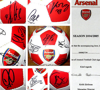 RARE, GENUINE, 2004 Arsenal Invincibles Squad Signed Ball w/ AFC Issued COA