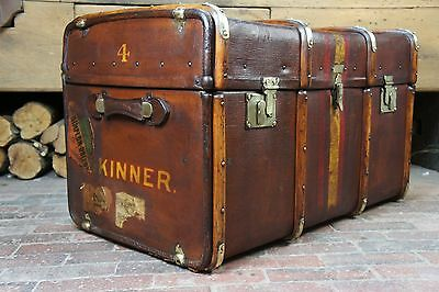 Beautiful Large English Banded Steamer Trunk BARKERS OF KENSINGTON LONDON