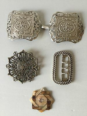 Assorted Vintage 40s 50s 60s 70s Buckles Mother Of Pearl Filigree